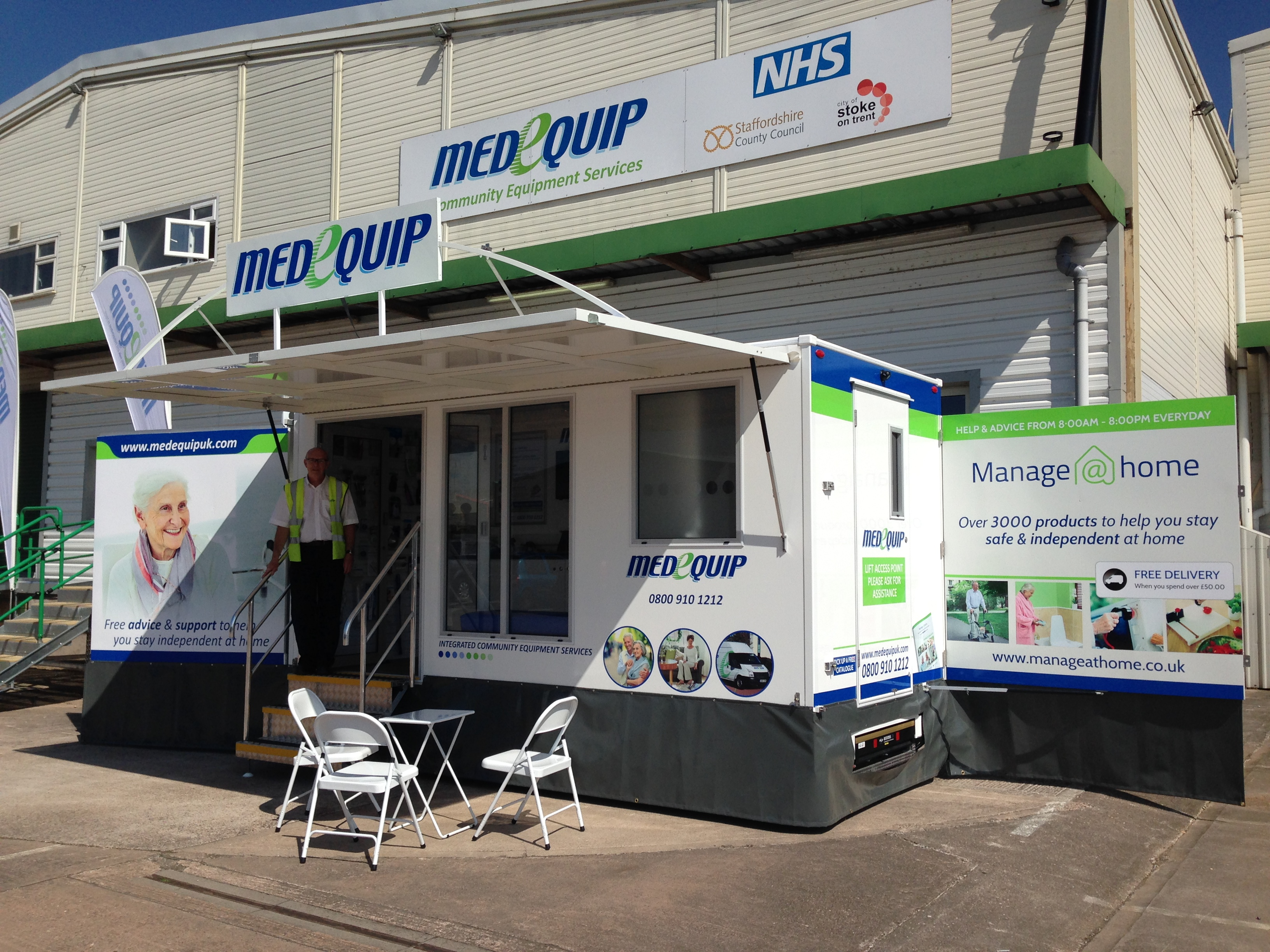 Photo of the Medequip Mobile Exhibition Unit outside the Medequip Stafford Depot